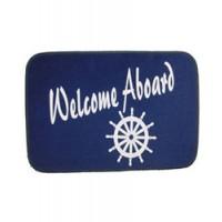 "Welcome Aboard Mat - 18"" X 30"" Blue - Wheel"