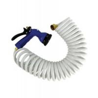 Whitecap Coiled Water Hose w/ Nozzle White 50'