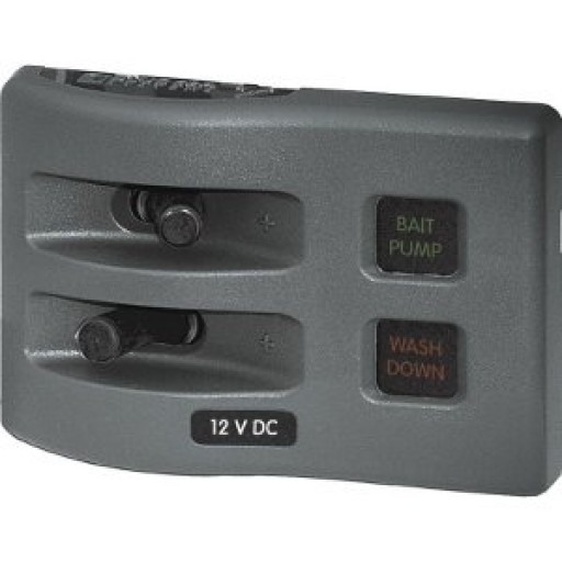 4 Position Grey Blue Sea 4304 WeatherDeck Water Resistant Fuse Panel