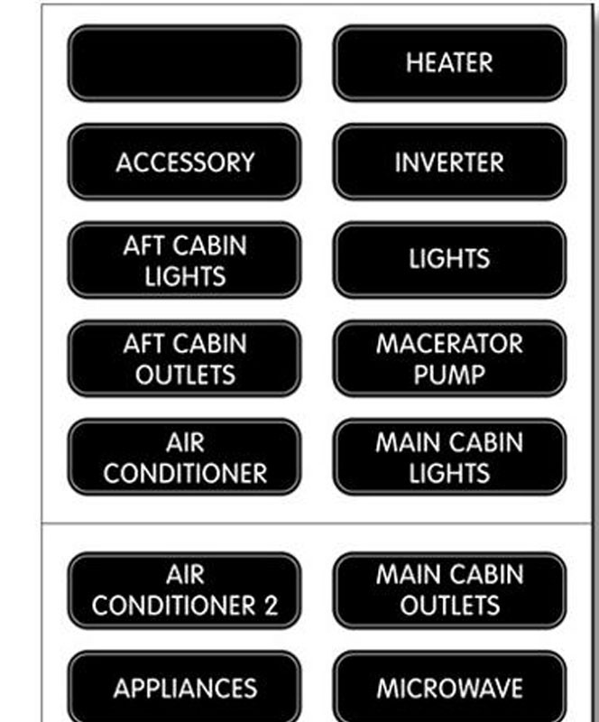 blue sea ac panel label kit w 30 common ac labels electrical