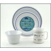 Galleyware Box Set w/ Plates, Bowls & Mugs - Fish