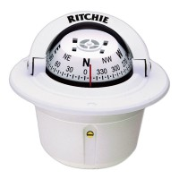 Ritchie F-50W White Explorer Compass Flush Mount